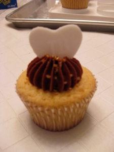 Yellow Cupcake w/ Raspberry Jam Filling and Chocolate Frosting